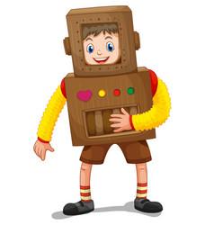 little boy in robot costume vector image