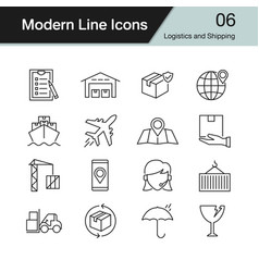 Logistics and shipping icons modern line design vector