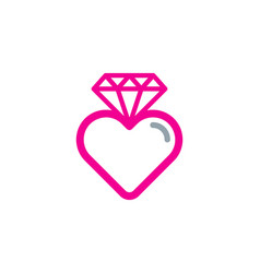 love diamond logo icon design vector image