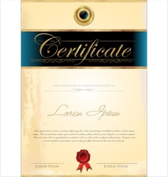 Luxury blue certificate template vector image