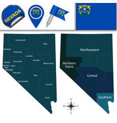 Map nevada with regions vector