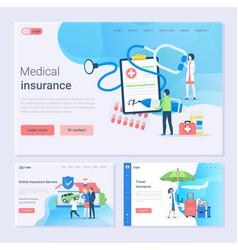 Medical insurance and online service set website vector