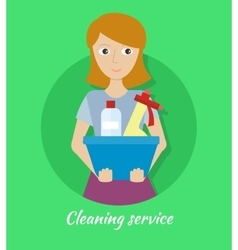 Member of the Cleaning Service with Glass Cleaner vector image