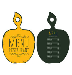 menu in form cutting board with price list vector image