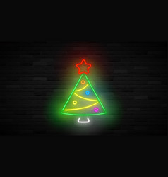 neon christmas tree concept vector image