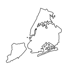 New york city map of black contour curves on vector