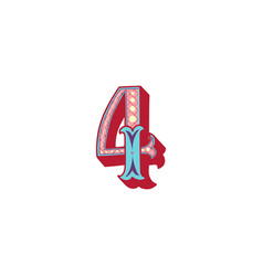 Number 4 lettering vector