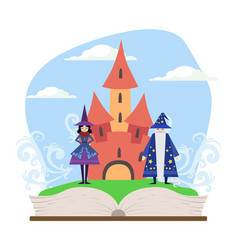 opened book with magic fairytale castle wizard vector image