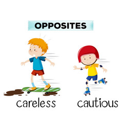 Opposite word of careless and cautious vector