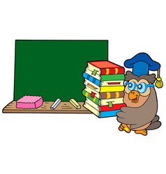 Owl teacher with books and blackboard vector