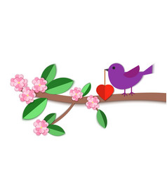 Paper art carve a bird with a heart in its beak on vector