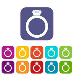ring icons set flat vector image vector image