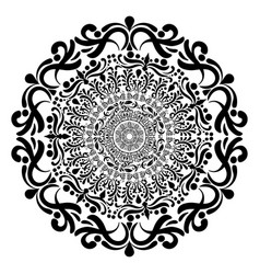 Round floral mandala in black and white vector