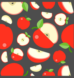 seamless pattern fruit background apple vector image