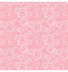 Seamless texture of pink circles and flowers vector image