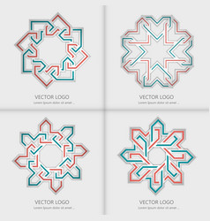 Set 3d round geometric logo template vector