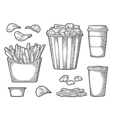 set fast food vintage engraving vector image