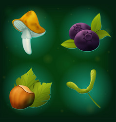Set of forest icons mushroom bleuberry hazelnut vector