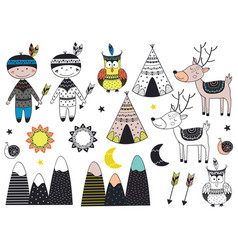 Set of isolated tribal boy and animals in scandina vector