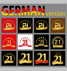 set of number twenty-one 21 years celebration vector image
