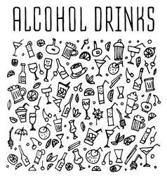 Set of various doodles cocktails and soft drinks vector image