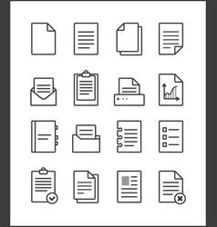 set outline file management icons vector image