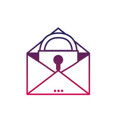 silhouette e-mail mesage with padlock insite to vector image