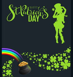st patricks day party template banner green vector image
