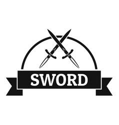 sword warrior logo simple black style vector image vector image