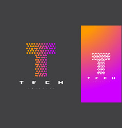 t letter logo technology connected dots letter vector image