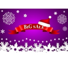 Tape with the word big sale and hat of santa claus vector