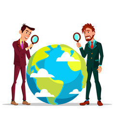 two businessmen looking at earth through vector image