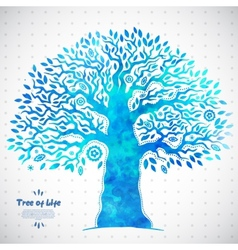 Unique watercolor ethnic tree of life vector