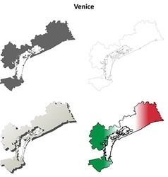 Venice blank detailed outline map set vector