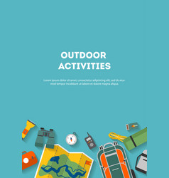 vertical banner camping and tourism on an outdoor vector image