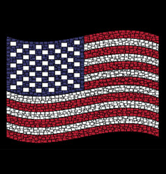 Waving usa flag stylization filled rectange vector