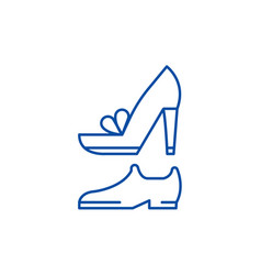 wedding shoes line icon concept wedding shoes vector image