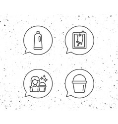 Window cleaning shampoo and maid equipment vector