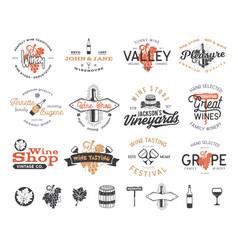 Wine logos labels set winery wine shop vector