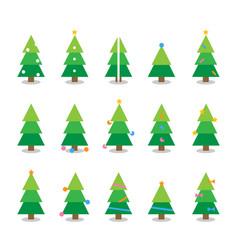 winter colorful cartoon christmas tree set vector image