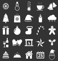 Winter icons on black background vector