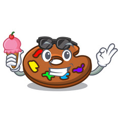 with ice cream palette character cartoon style vector image