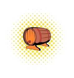 wooden barrel beer with a tap icon comics style vector image
