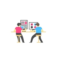 Workplace concept people sitting at desktop vector