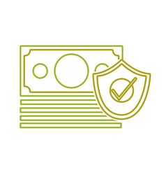 Yellow line bills cash money with security shield vector