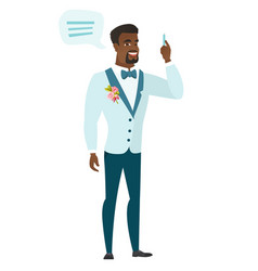 Young african-american groom with speech bubble vector