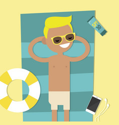 Young character lying on the beach top view flat vector