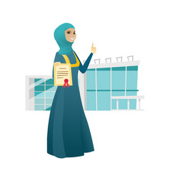 young muslim business woman holding a certificate vector image