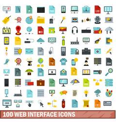 100 web interface icons set flat style vector image