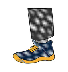 drawing foot with blue shoe sport vector image